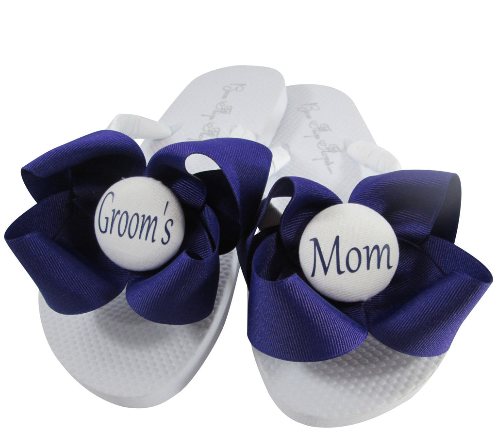 Design your own Groom's Mom Bow Wedding Flip Flop Sandals-choose colors & size