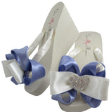 Tropic Lilac Wedding Heart Flip Flops on Ivory or White Wedges