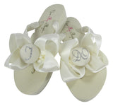 I DO Bride Flip Flops - Ivory or White Wedge or Flats