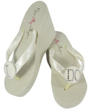 Ivory Low or High Wedge Swarovski Rhinestone I DO Wedding Flip Flops