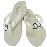 Black Glitter &  Ivory I DO Bridal Flip Flop Wedge Sandals for the Bride