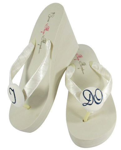 I DO Flip Flops in Ivory Wedge Heel with Navy Blue Glitter- choose from 3 heel heights