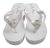 Wedge Wedding Flip Flops with Lavender Satin and Bling