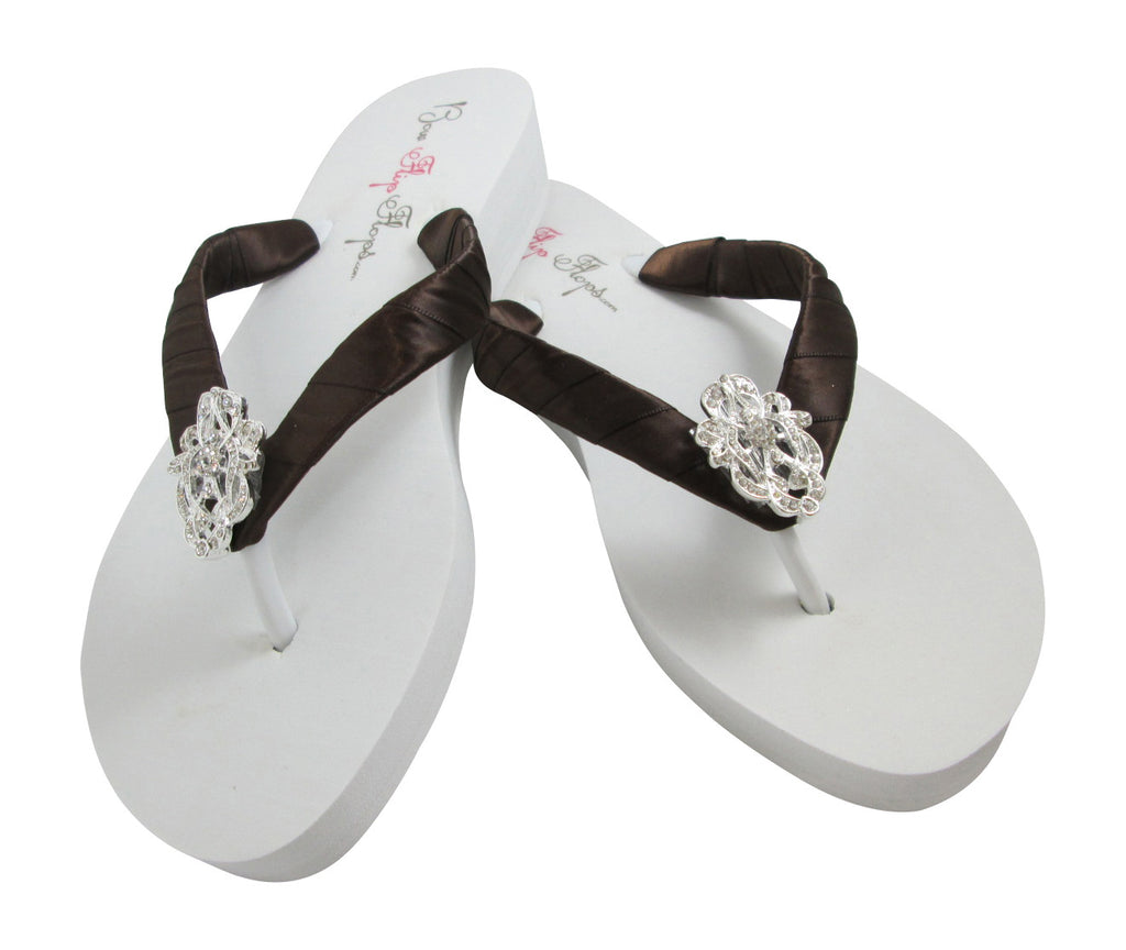 Chocolate Brown & White Wedge Wedding Flip Flops