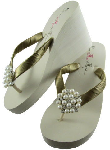 Gold Bridal Flip Flops with Pearl Embellishment- 3.5 inch heel on White or Ivory