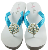 Turquoise Bridal Flip Flops with Pearl Embellishment- 3.5 inch heel on White or Ivory