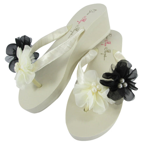 Ivory Wedge Flip Flops with Black Pearl Tulle Flowers