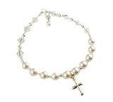 Cross Charm Rosary Bracelet for Girls, First Communion or Baptism Bracelet