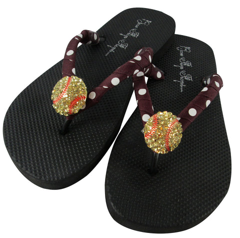 Softball Flip Flop Sandals with Maroon Red Dot Ribbon Straps