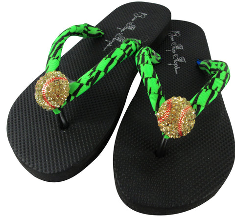 Softball rhinestone flip flops with neon green zebra ribbon