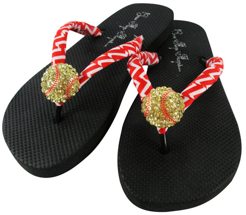Red Chevron Softball Bling Rhinestone Flip Flops