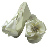 Ivory high wedge starfish bow flip flops