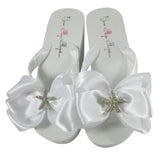 White Wedge Starfish bow flip flops