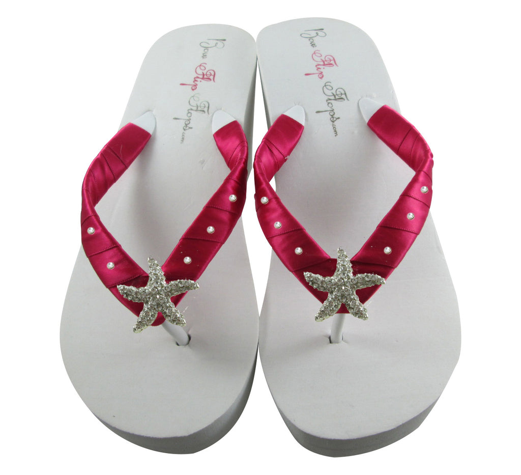 Bridal Flip Flops with Starfish Shocking Pink Satin and Swarovski Rhinestones