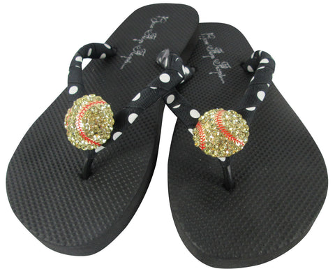 Black polka softball bling flip flops
