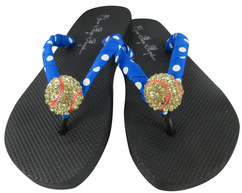 Electric Blue Softball Bling Flip Flops