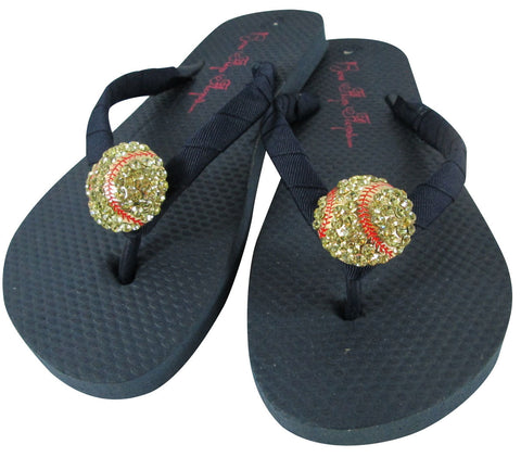 Navy Blue Softball Rhinestone Flip Flops