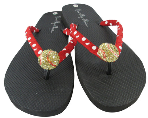Red & White Polka Dot Rhinestone Softball Flip Flops