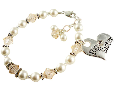 Big Sister Bracelet with Charm and Crystals