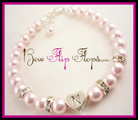 Flower Girl Personalized Initial Bracelet in Light Pink