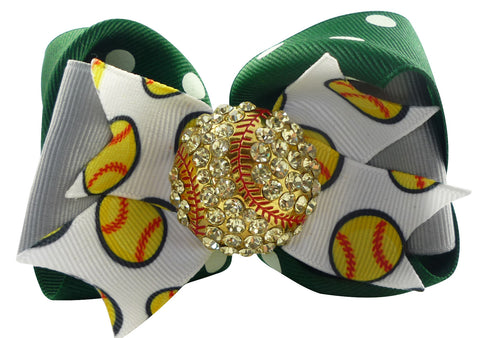Softball Rhinestone Hair Bow in Green and Gray