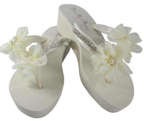Diamond and Pearl Bridal Wedge Flip Flops in Ivory or White