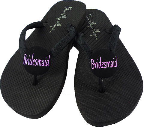 Bridesmaid Flip Flops with Hot Pink & Black for the Wedding