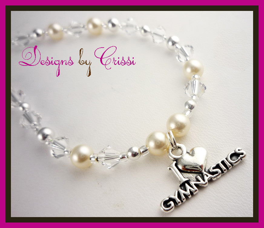 I love gymnastics necklace for girls- crystals and pearls