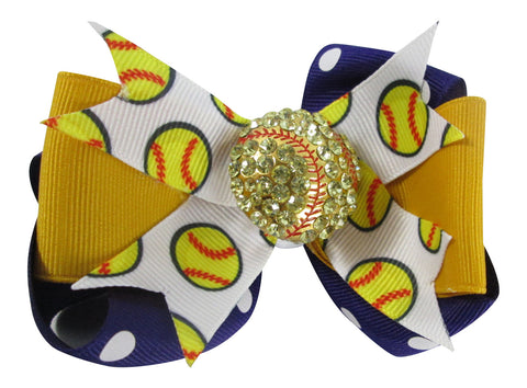 Purple & Gold Softball Hair Bow with Bling