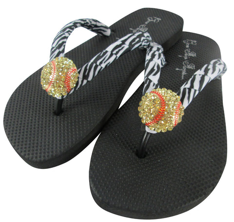 Softball Flip Flops with Zebra Ribbons and Rhinestone Bling for Girls & Ladies, Softball Moms