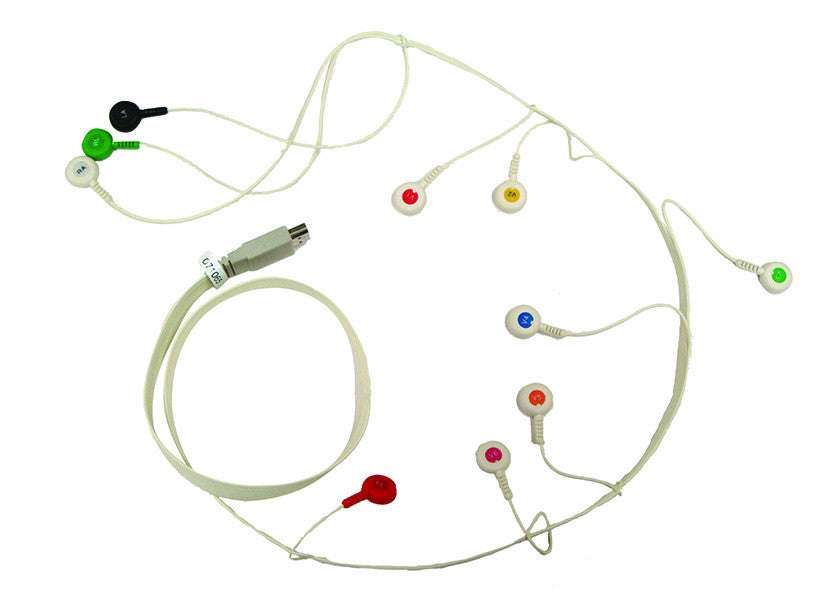 12-CH ECG Holter Patient Cable w/10 Leads