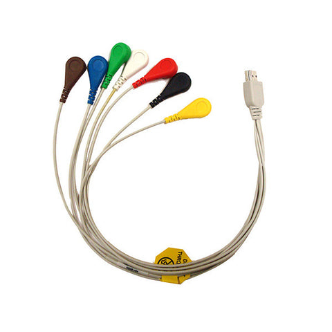 3-CH ECG Holter Patient Cable w/ 7 Leads