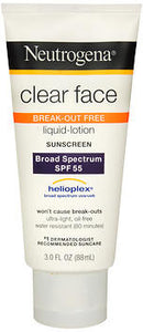 Neutrogena Clear Face Break-Out Free Liquid-Lotion Sunscreen SPF 55, 3 oz