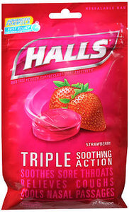 Halls Menthol Cough Suppressant Oral Anesthetic Drops Strawberry, 30 EA