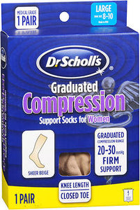 Dr. Scholl's Graduated Compression Support Socks for Women Firm Support Large Sheer Beige, 1 pair