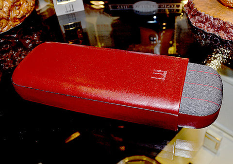 Dunhill Handmade Banker Leather Cigar Case Red
