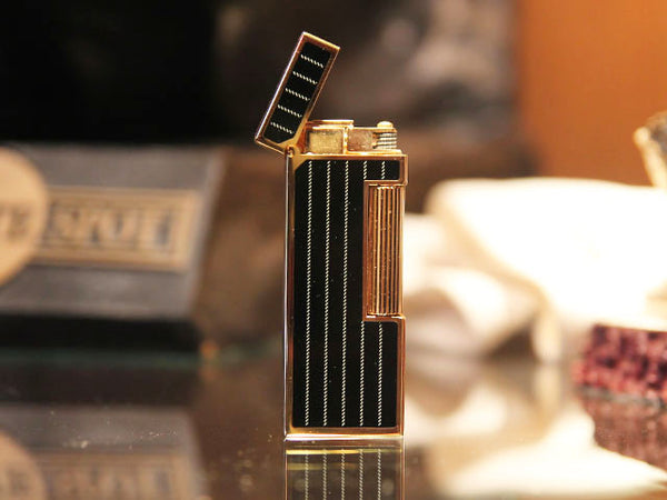 Dunhill Rollagas Lighter Gold/Black Pinstripe #RL2491N
