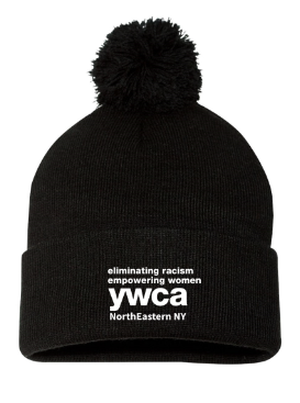 YWCA Knit Pom Pom Hat - Black