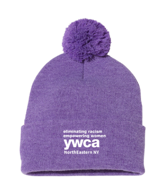 YWCA Knit Pom Pom Hat - Heather Purple