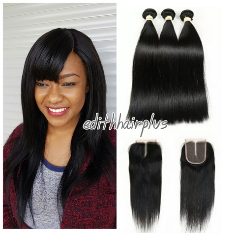 Peruvian Hair Straight 3 Bundles & a Closure
