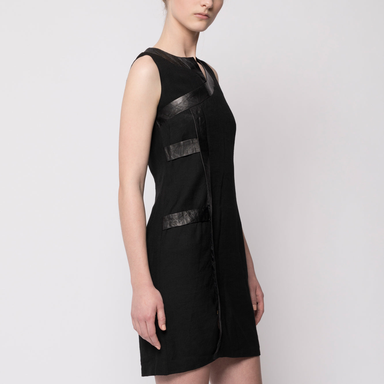 Paneled leather detail dress - Tindi
