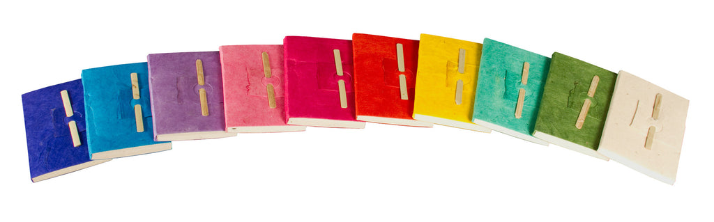 Mini Bamboo Notebooks Pack of 10 Assorted Colours