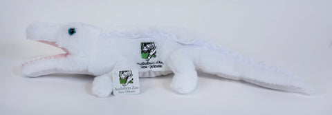 "22"" White Alligator Plush ~ Audubon Zoo logo"
