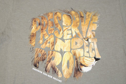 "Audubon Zoo ""PRESERVE AND PROTECT"" Lion Adult T-Shirt"
