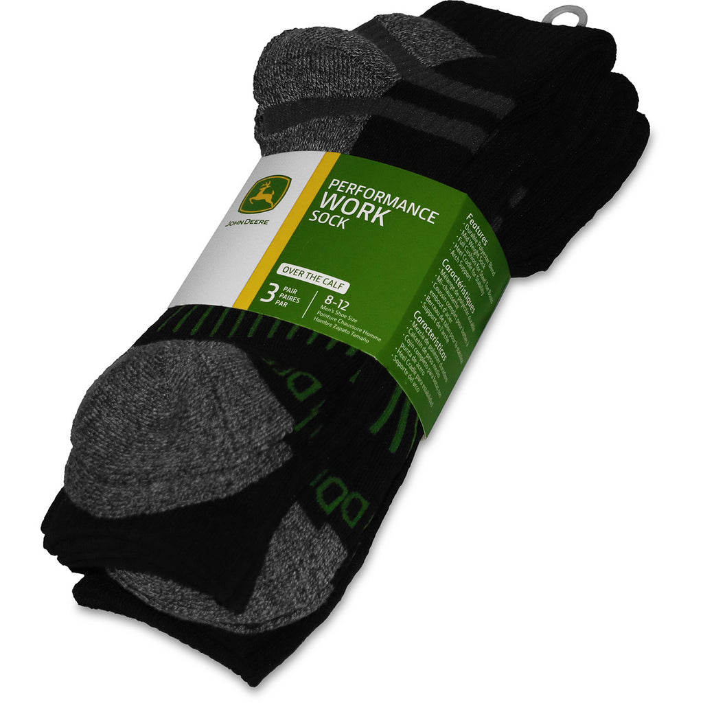 John Deere Men's 3 Pack Performance Work Sock (Over The Calf) - LP73321
