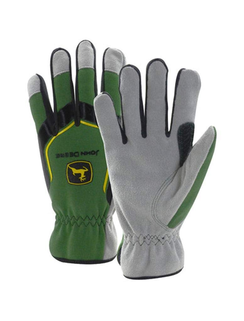 John Deere Men's Cowhide Spandex Back Glove (XL) - LP67361