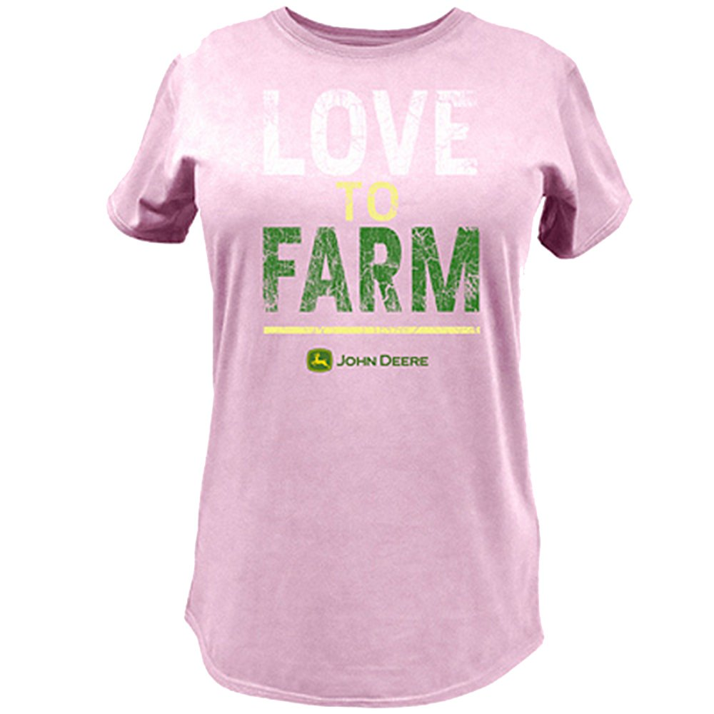 "Ladies John Deere ""Love to Farm"" T-Shirt (Pink)(LARGE) - LP47362"