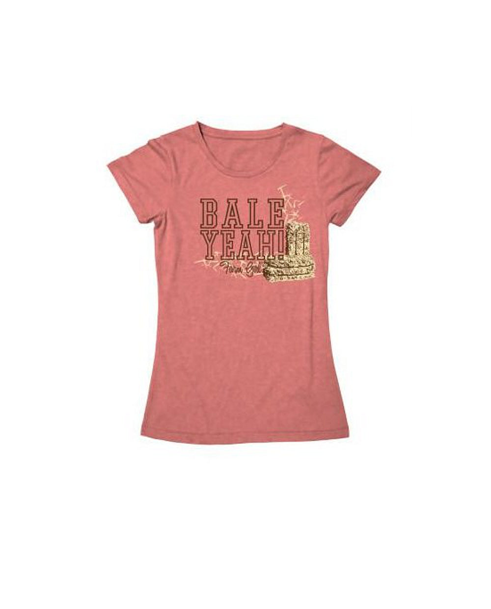 "Ladies Farm Girl ""Bale Yeah"" T-Shirt (Sherbet Pink)(Medium) - 23007224M"