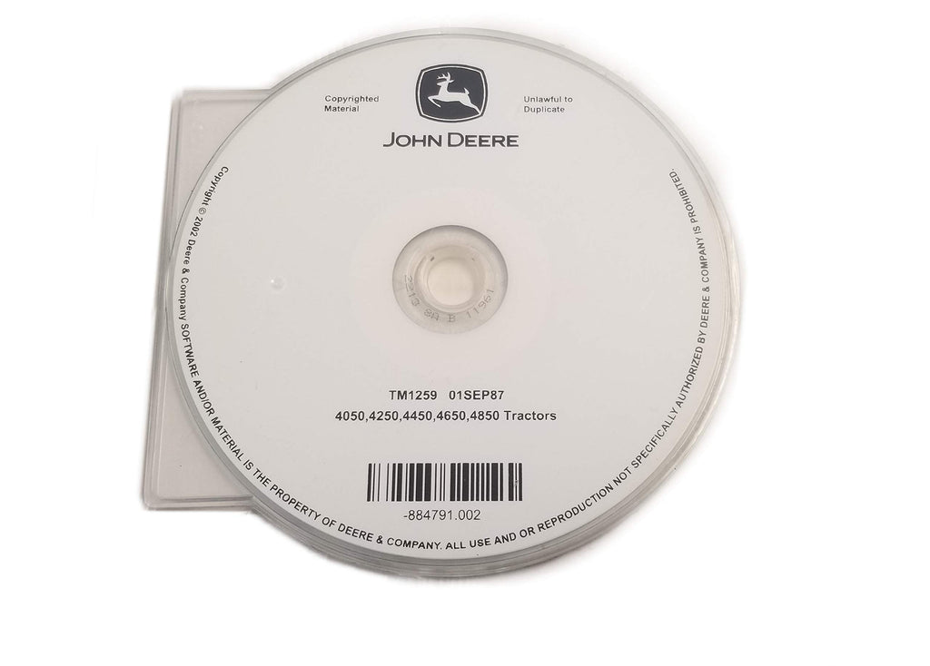 John Deere 4050/4250/4450/4650/4850 Tractors Technical Manual CD - TM1259CD