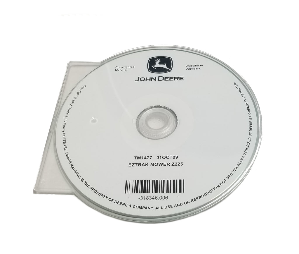John Deere Z225 EZ-Trak Technical CD Manual - TM1477CD